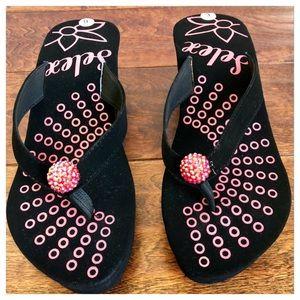 Shoes - Rhinestone Wedge Sandal - New